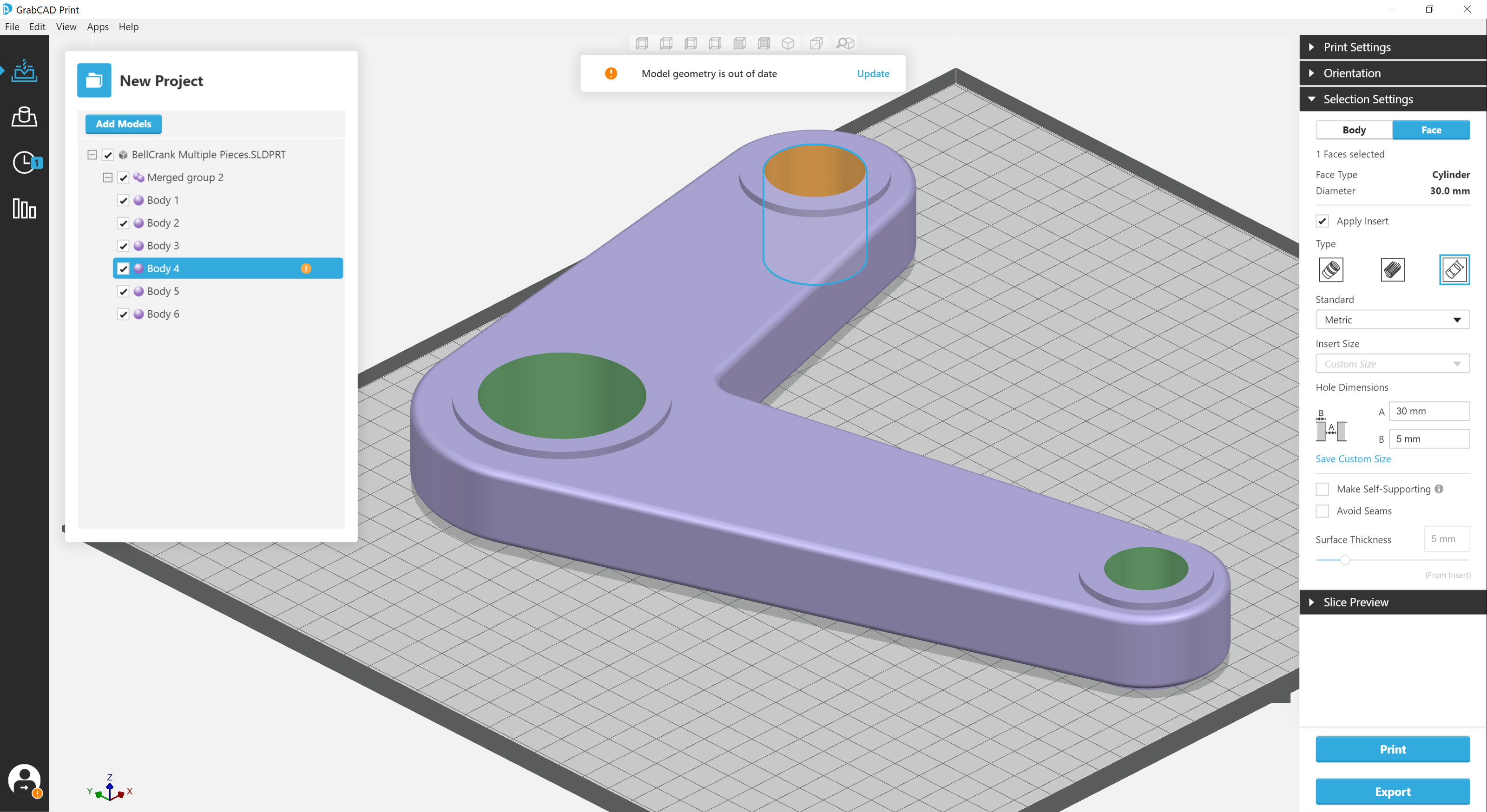 Combining the easy-to-use GrabCAD Print interface with the powerful Stratasys Insight software, Jigs and Fixtures for GrabCAD Print automates previously complex part preparation tasks.
