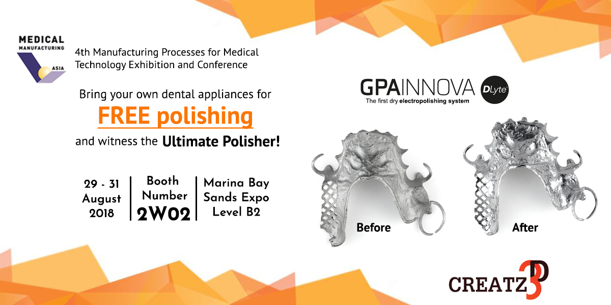 Free polishing of precious metals at Medical Manufacturing Asia 2018