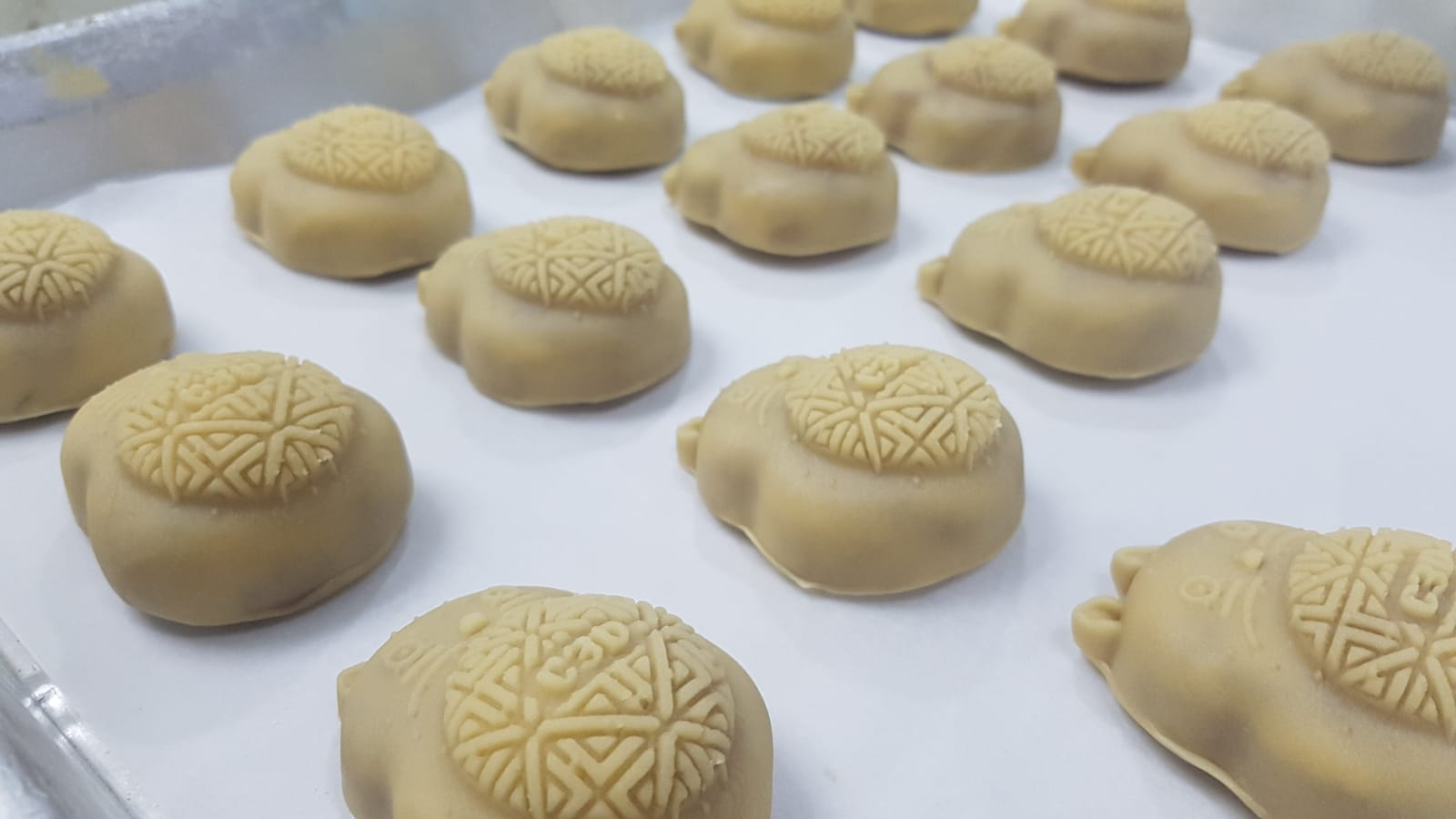 Mooncakes molded with 3D printed molds.