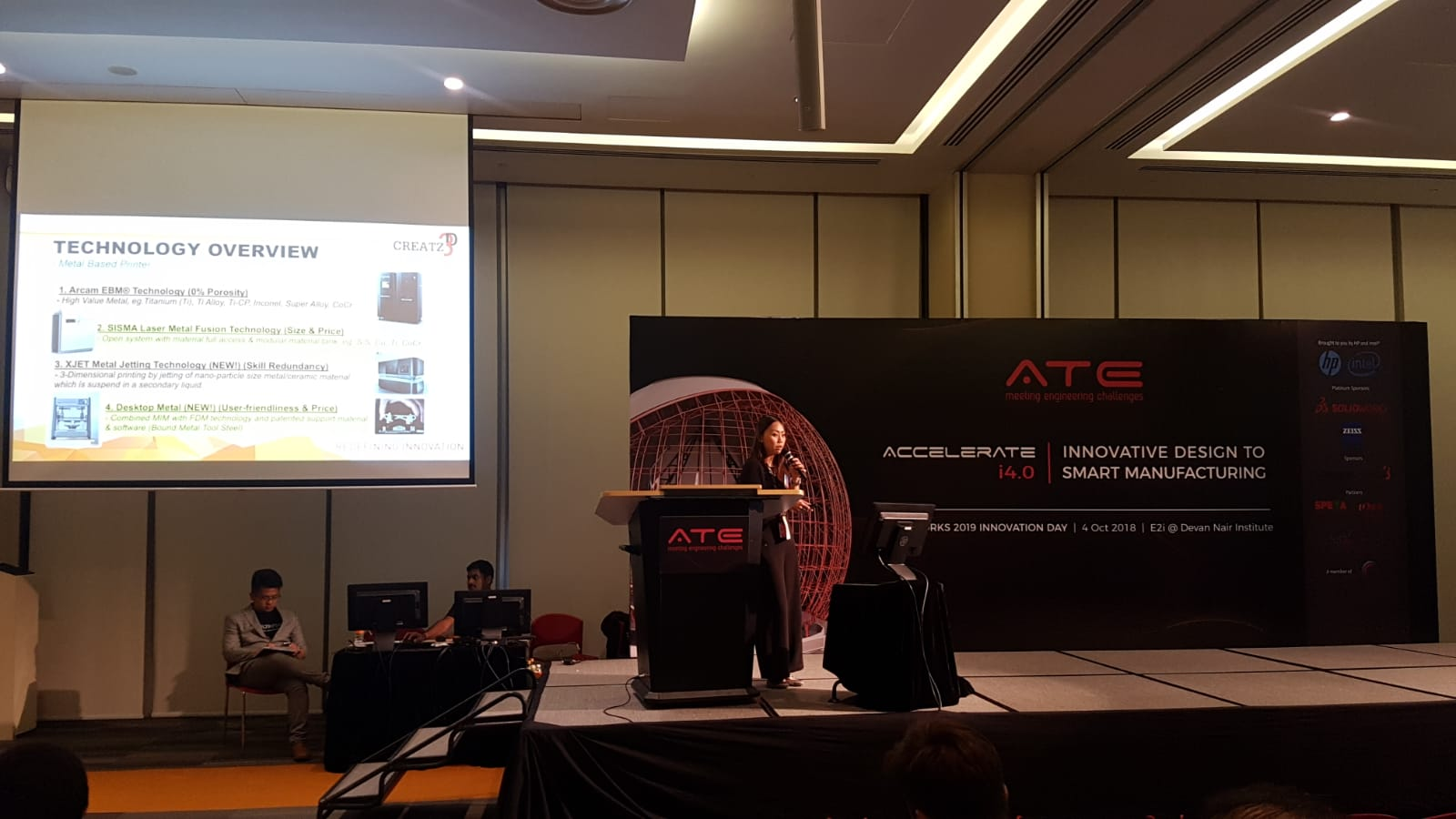 Ms. Sally Chuen, Applications and Sales Manager at Creatz3D, giving her presentation.