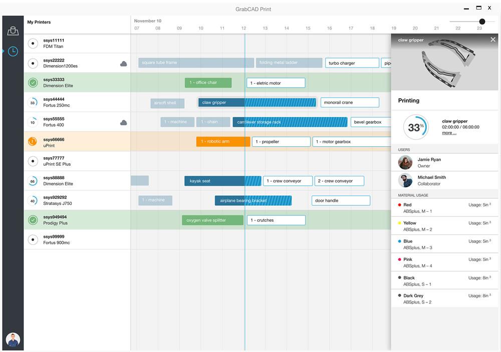 GrabCAD Print Schedule Screen
