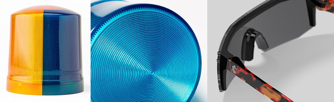 Lights printed with VeroVividCyan. Eyeglass frame with VeroVivid Flex.