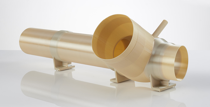 An ULTEM 9085 environmental control duct used on a space launch vehicle (Photo: Stratasys).