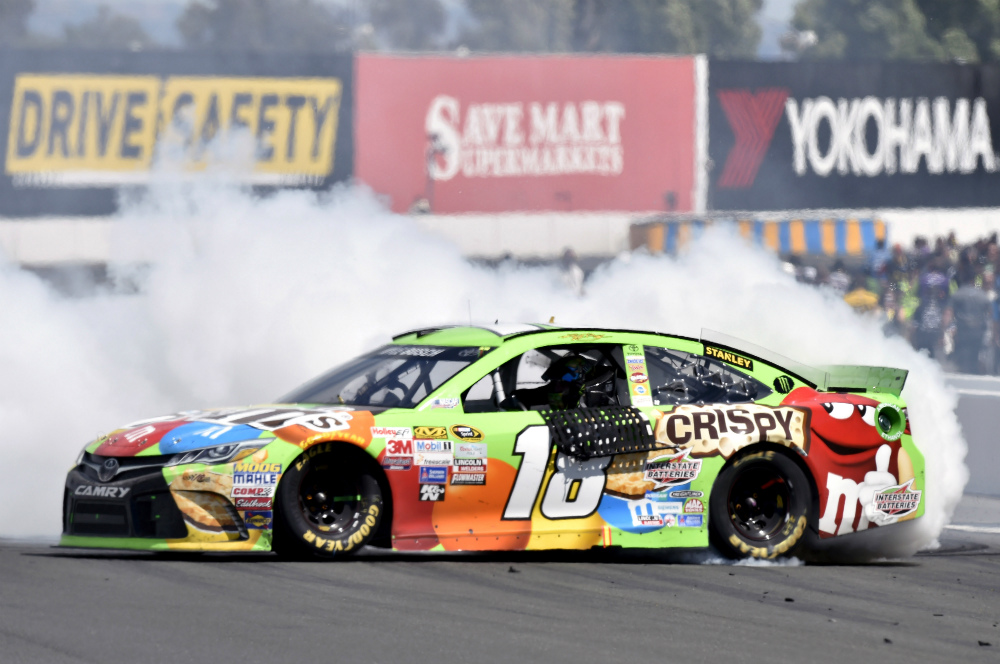 Kyle Busch won the Toyota/Save Mart 350 at Sonoma Raceway in 2015 with a 3D-printed polycarbonate gauge insert mounted on the dashboard of his No. 18 Toyota stock car.