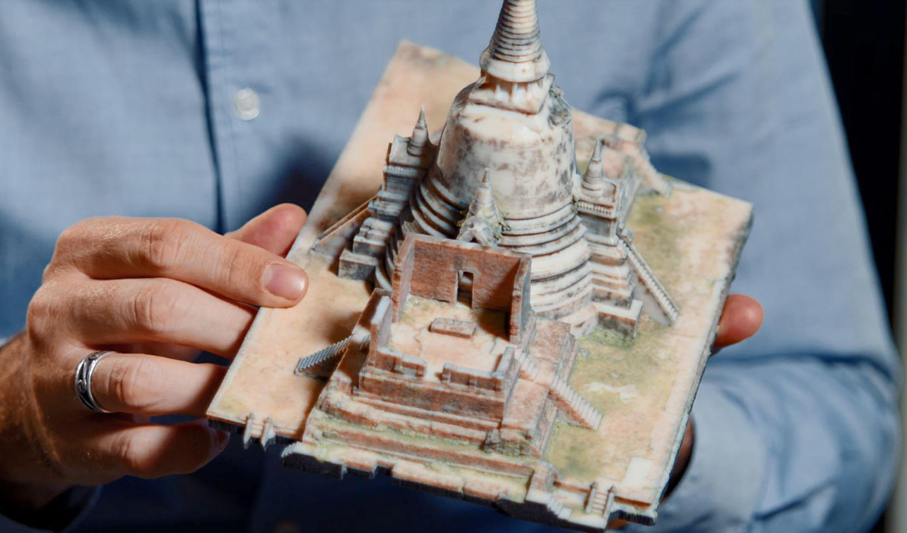 A 3D printed model of Ayutthaya temple in Thailand, produced using the Stratasys J750.