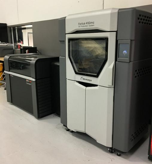 Stratasys Connex3 Objet500 machine (left) and Fortus 450mc (right).