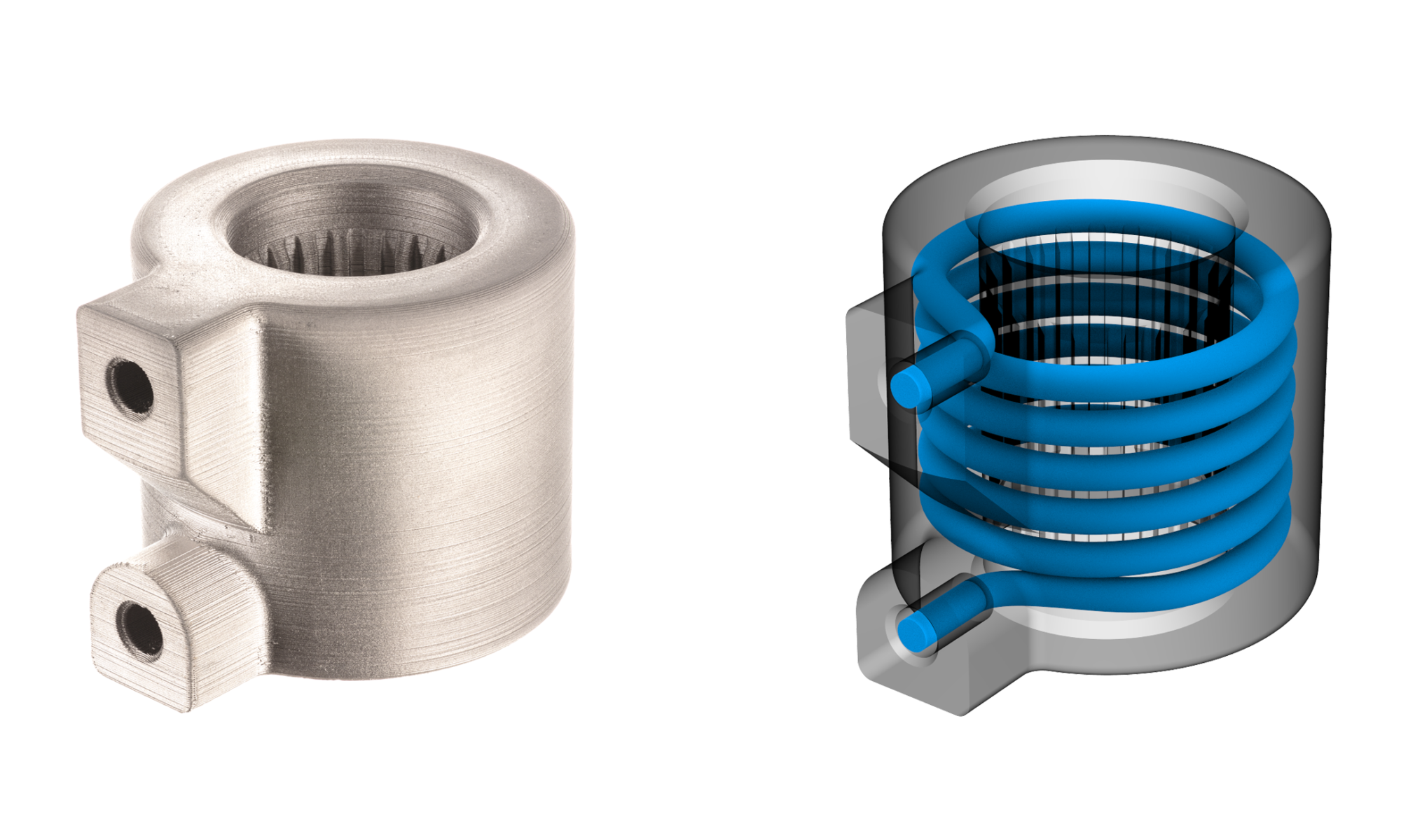 Additive manufacturing allows for non-planar internal channels to be built directly into the part.