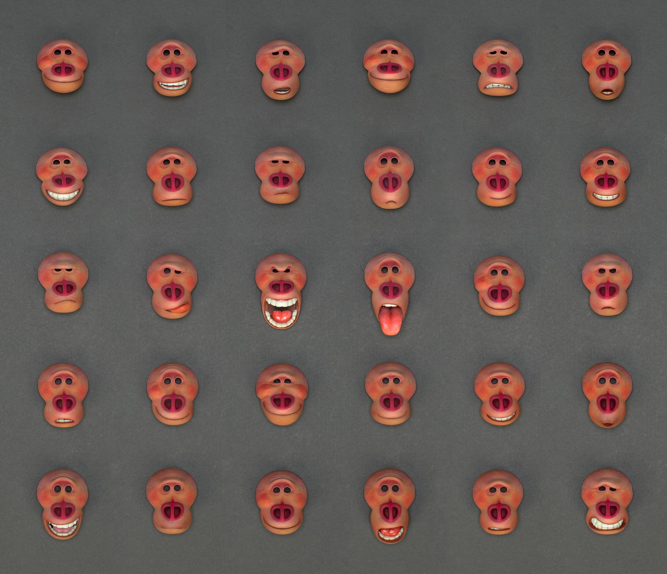 Các biểu cảm gương mặt của nhân vật Mr.Link được tạo thành bởi máy in 3D Stratasys J750