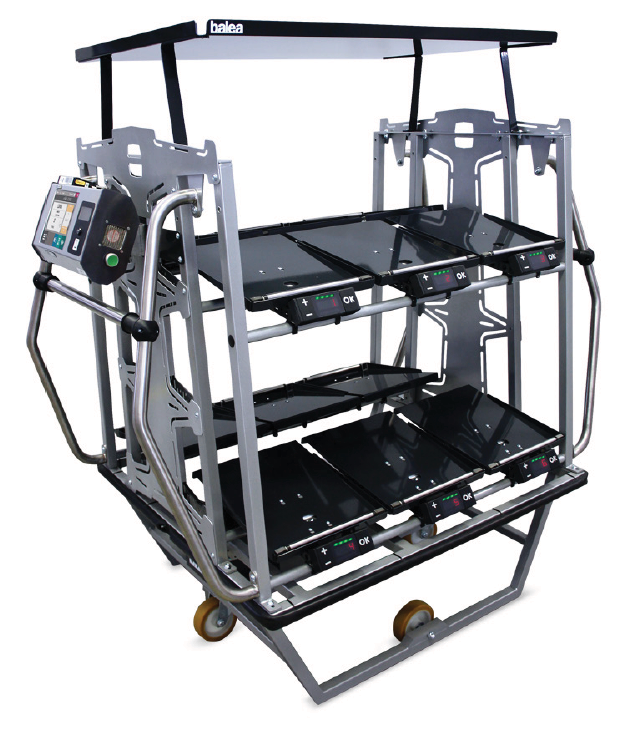 Balea trolley equipped with electronic weighing systems to load the right amount of goods during preparation of orders.