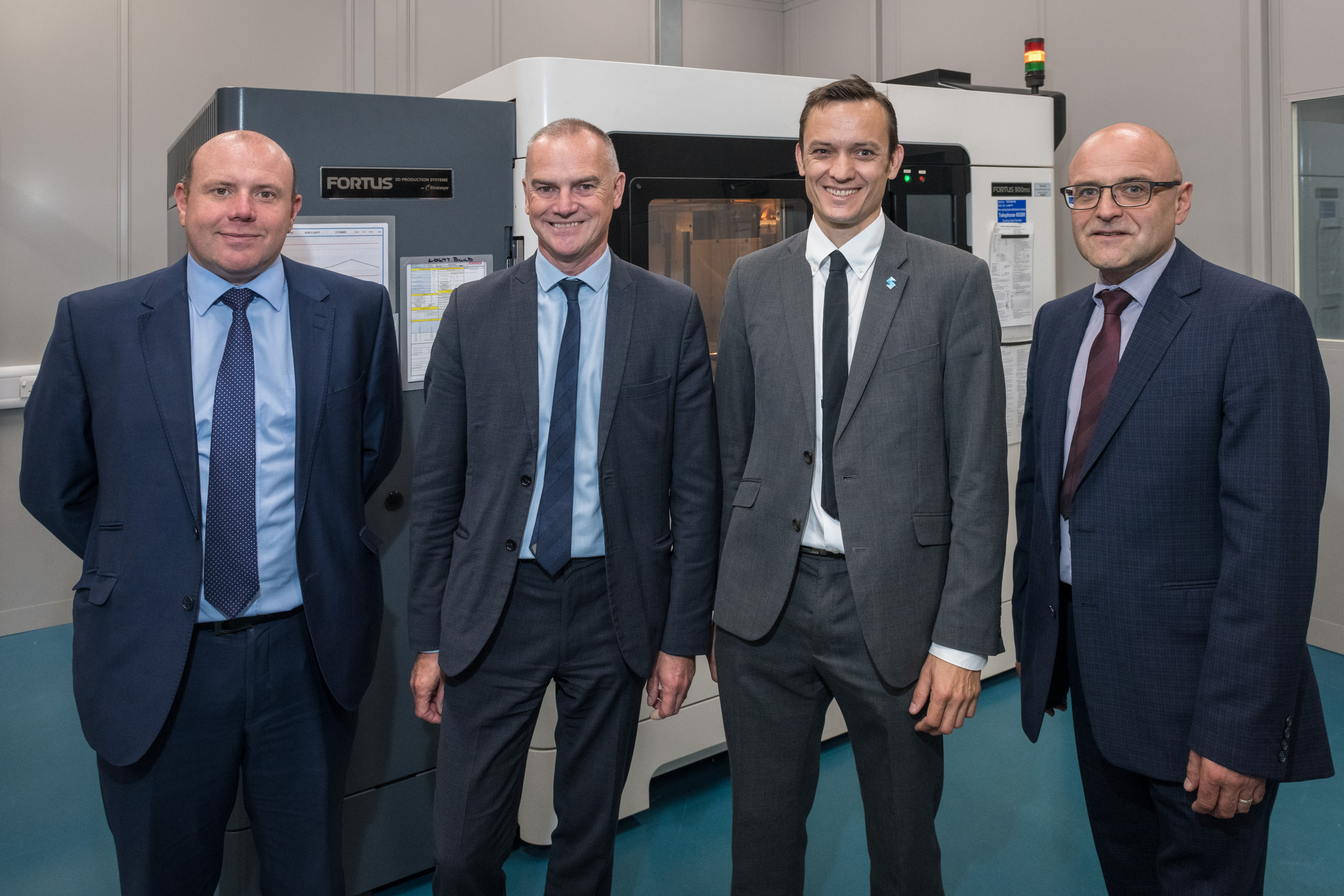 Ian Barton, head of strategy & investment planning, BAE Systems; Andrew Schofield, head of manufacturing & materials engineering, BAE Systems; Yann Rageul, head of strategic accounts for EMEA at Stratasys; and Simon Whitaker, technology operations manager at BAE Systems.
