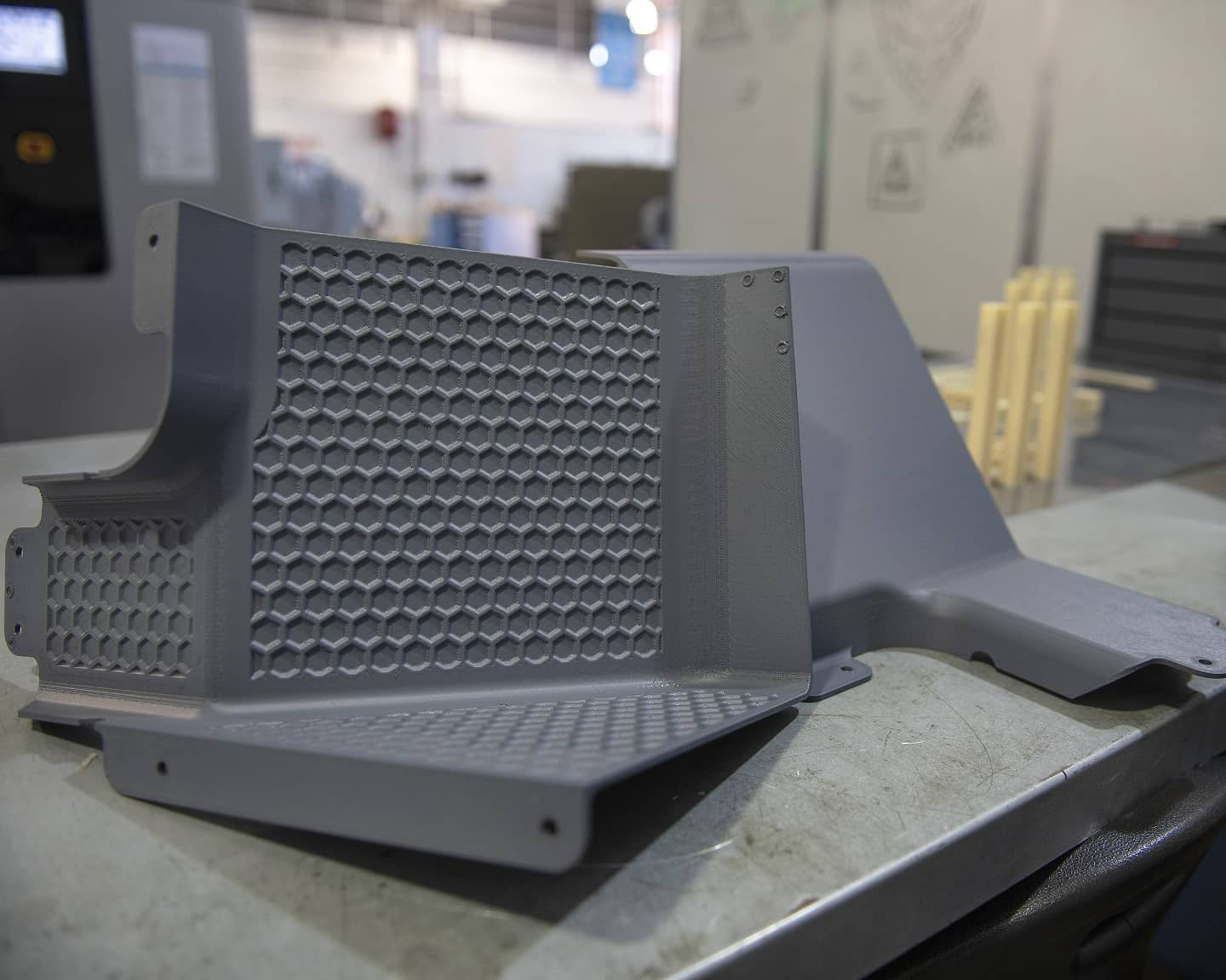 The first 3D printed aircraft parts from Stratasys F900 - latrine covers.