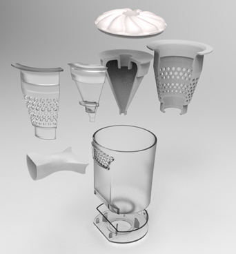 Main Vacuum Cleaner Unit 3D printed with Stratasys grayscale and clear resins separately, and assembled together.